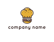 burger with a chef's hat upper bun food logo