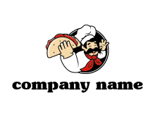 logo with a chef holding a taco