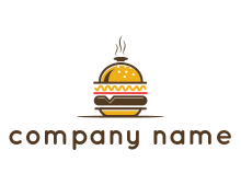 burger with a dish lid logo for an eatery