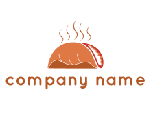 steam rising from taco for Mexican food logo