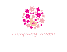 flowers forming Afro hair on woman logo