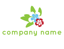 periwinkle flowers with leaves logo