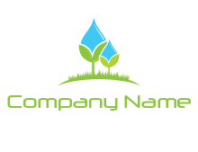 water drop merge with plant over grass logo