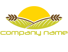 sunset over wheat stalks and farm logo
