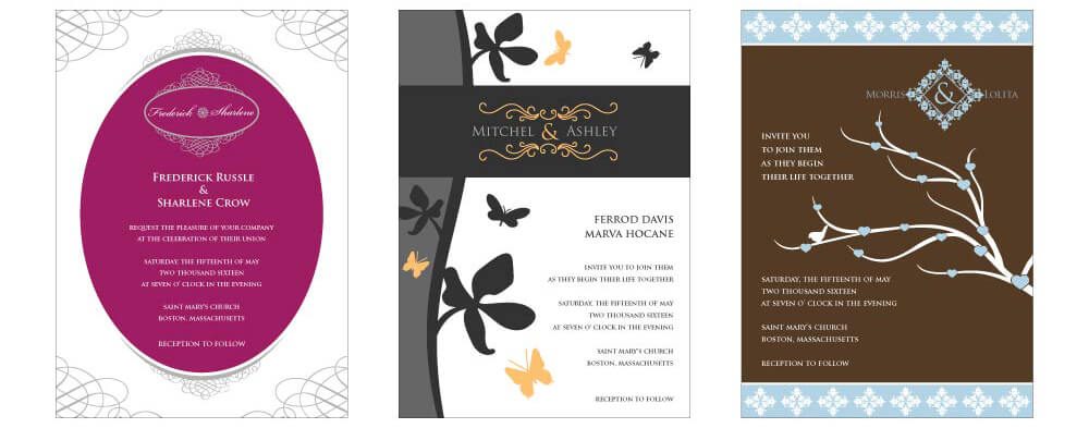 Create free wedding invitations designmantic the design shop wedding card design samples reheart Gallery