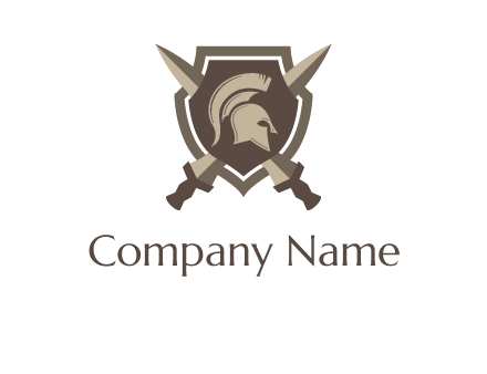 spartan helmet and sword in shield logo
