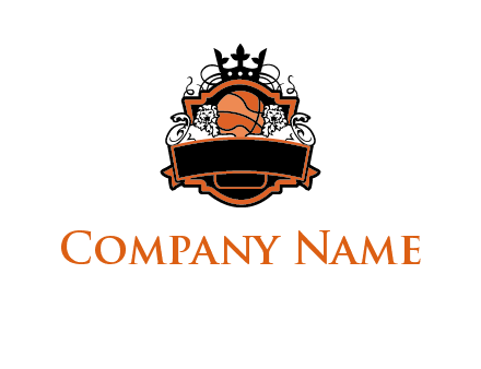 basketball logo with banner, crown and lions