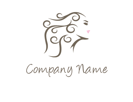 woman with curls in hair saloon logo