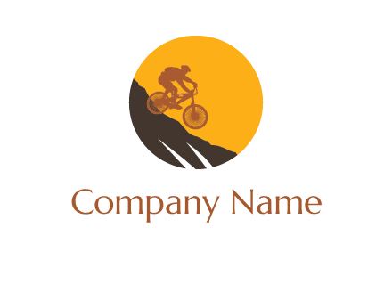 cycling down a mountain logo