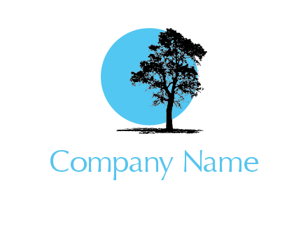 silhouette tree in circle logo