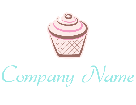 cupcake with swirl cream logo icon
