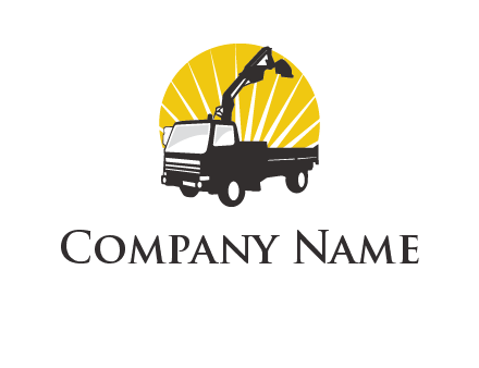 sun with mobile crane in truck logo