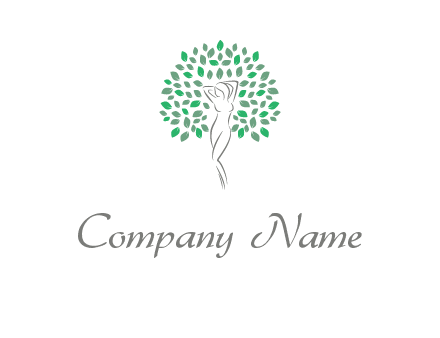 isolated leaves and woman body as tree logo