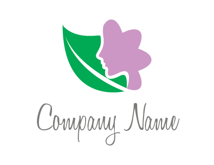 leave and woman head as flower logo icon