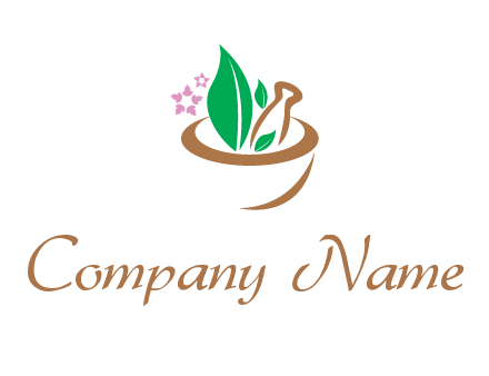 leaves flowers in pestle mortar healthcare logo
