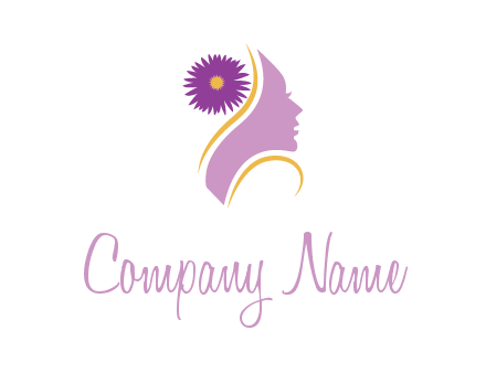 flower on hair of woman silhouette beauty logo icon