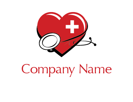 stethoscope around heart with cross medical logo