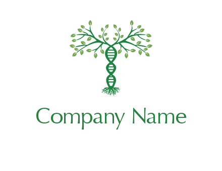 DNA shape tree with leaves medical logo