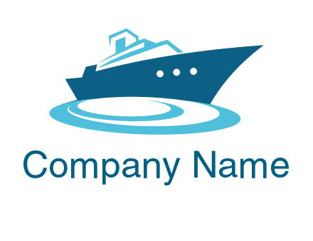yacht with waves travel logo
