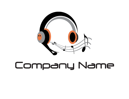 music notes flowing out of headphones entertainment logo