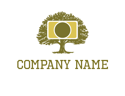 rectangle camera and tree photography logo