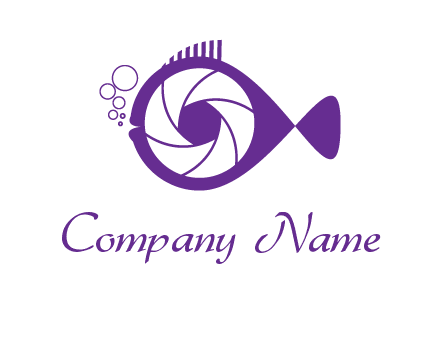shutter in fish blowing bubbles photography logo