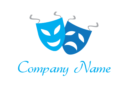 two theater masks entertainment logo