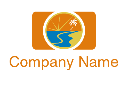 beach with palm tree and sun in camera photography logo