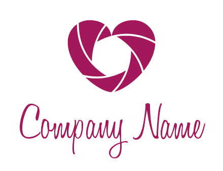 shutter in heart shape photography logo