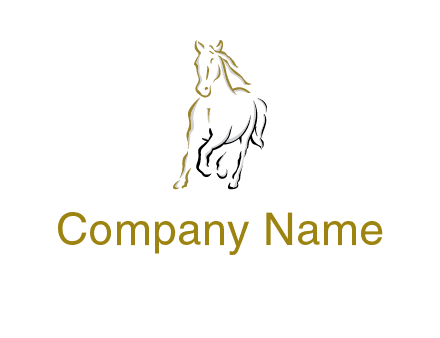 outline of running horse logo