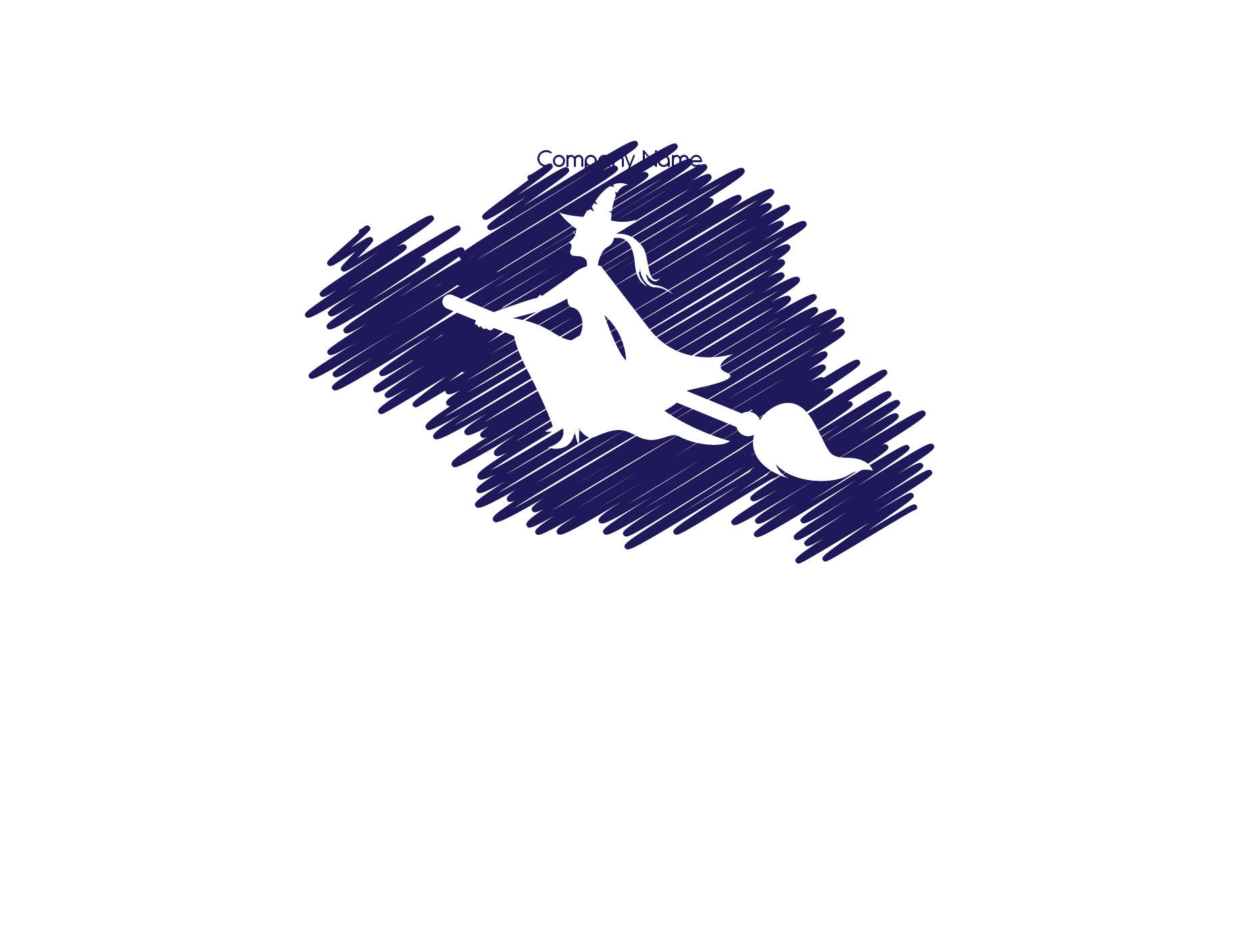 witch flying on broomstick scribble background logo
