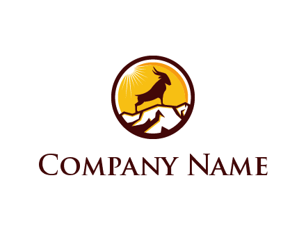 silhouette goat standing on mountain logo