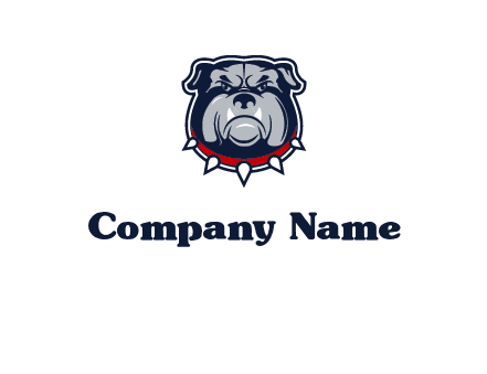 angry bulldog with red collar illustration