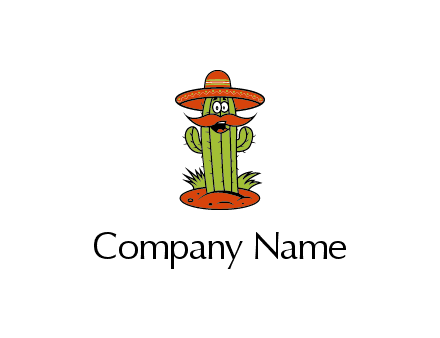cactus with sombrero and mustache illustration