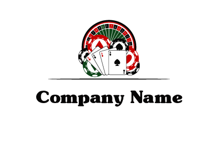 casino logo with poker chips, cards and Roulette