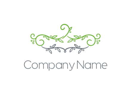 floral design logo with vines