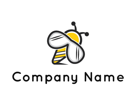 honeybee logo with glasses as wings