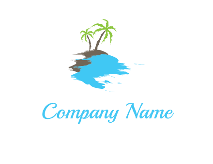 palm trees in island logo