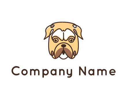 dog grooming logo featuring a bulldog
