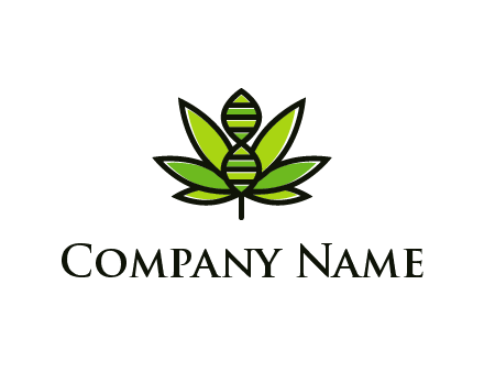 dna at the center of a marijuana leaf logo