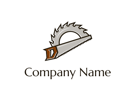 saw over a round saw blade for carpentry or sawmill logo