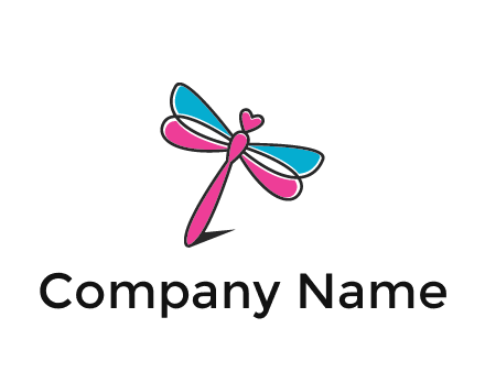 dragonfly with hearts beauty logo