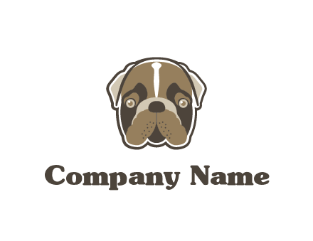 pet shop or veterinary clinic logo with the face of a bulldog
