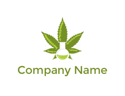 medical logo displaying laboratory flask with marijuana leaf