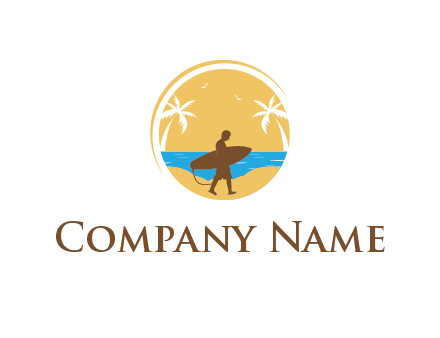 circular logo with palm trees and a surfer walking on the beach
