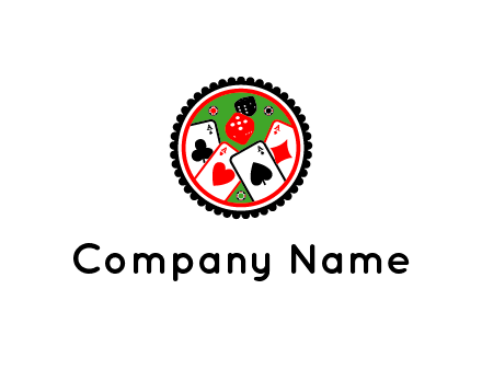 aces of cards, poker or casino chips and dice inside circular gambling logo