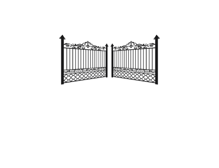 partially open metal fence gates logo