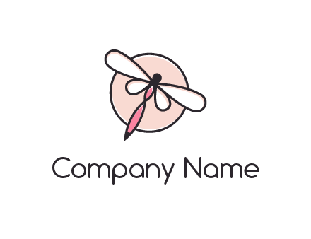 dragonfly slanting over a circle logo