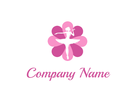 ballerina in a feminine flower shaped logo