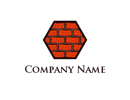 hexagon brick wall logo